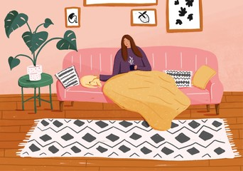 Illustration of woman having coffee while sitting next to her dog on sofa
