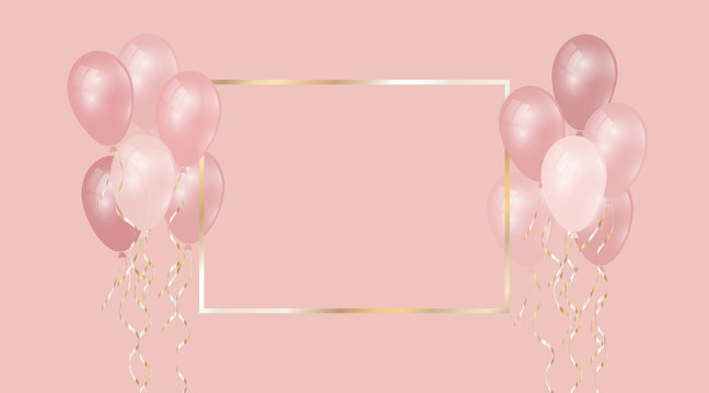 Festive background with beautiful balloons and golden frame. Realistic decorative elements with gold ribbons on pink background. Elements for design. Vector illustration