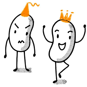 Human Beans. Two bean-shaped characters (vectors) on white background. One angry frustrated, the other happy, dancing.