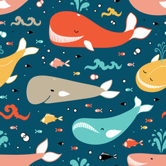 Vector Cute Whales with Different , Fishes and Sea Waves Seamless Pattern. Cartoon Ocean Animals. Sea Animal Colorful Background for Kids