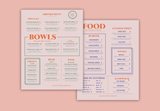 Tan Menu Layout with Colorful Accents