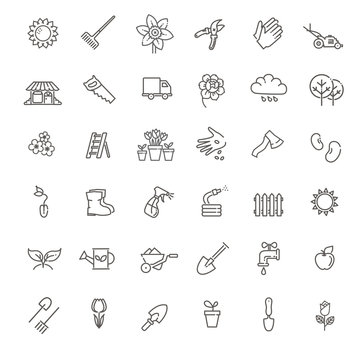 Collection of gardening vector line icons