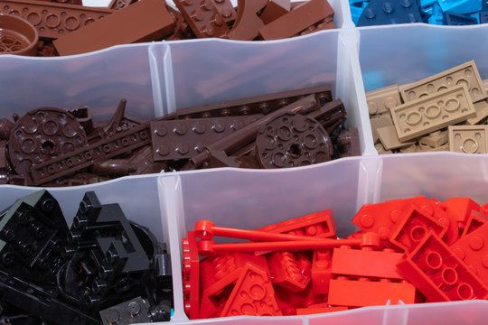 Kouvola, Finland - 23 January 2020: Plastic toy lego blocks sorted by color in box