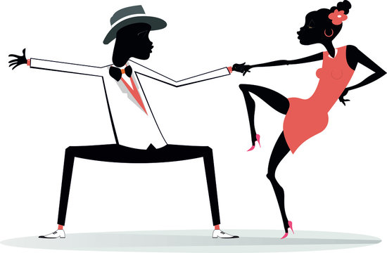 Romantic dancing young African couple isolated illustration.  Funny dancing young African man and woman isolated on white illustration