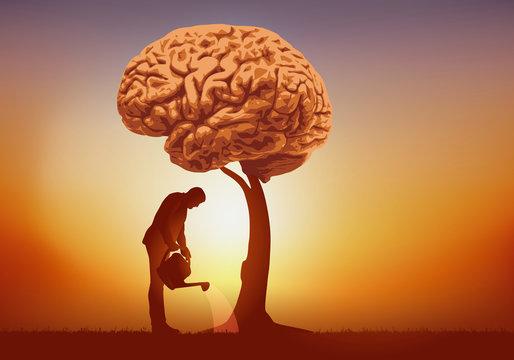 Concept de l'intelligence et de la culture du savoir avec un homme qui arrose un arbre dont le feuillage est symboliquement remplacé par un cerveau.