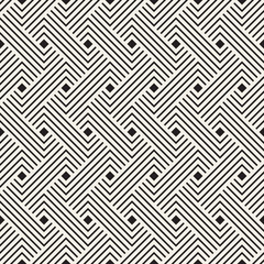 Vector seamless pattern. Decorative geometric interlaced lines design. Monochrome bold wavy stripes background.