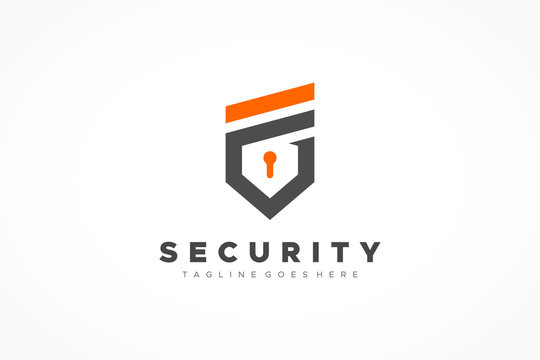 Security Logo Letter F and G Military Shield with Lock Icon Inside. Flat Vector Logo Design Template Element.