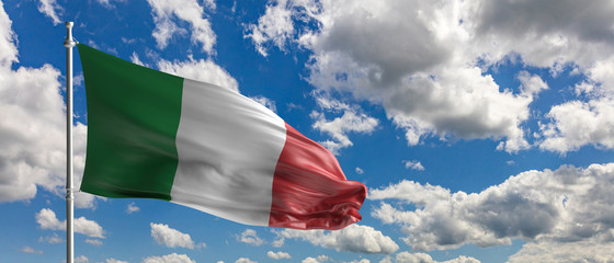 Italy national flag waving on blue sky background. 3d illustration Fotomurales