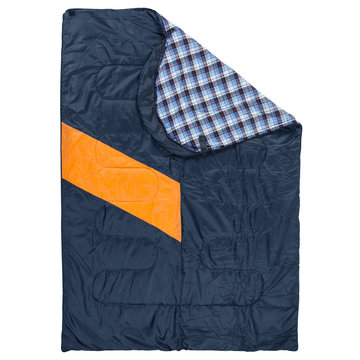 large sleeping bag with an orange stripe, spread out like a blanket, top view, on a white background