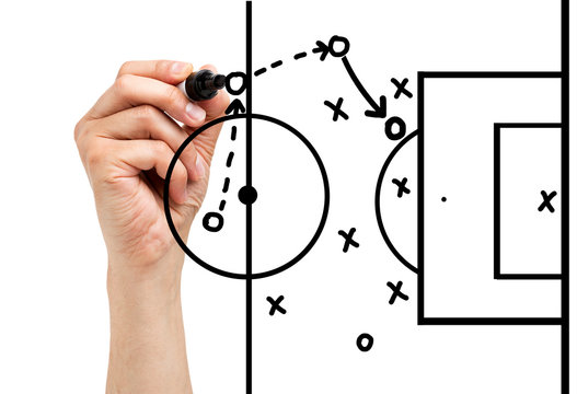 Coach drawing football or soccer game playbook, strategy and tactics with black marker on white background.