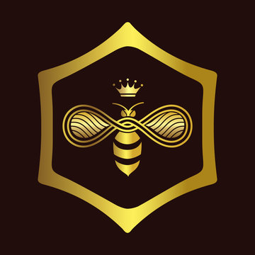 Logo design of Queen Bee with the crown on head isolated on dark burgundy background. Vector illustration.