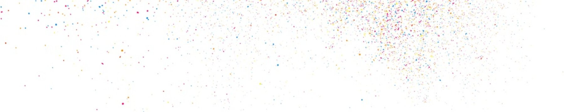 Abstract Explosion of Confetti. Colorful Grainy Texture Isolated on White Panoramic Background. Colored Stains and Blots. Wide Horizontal Long Banner For Site. Illustration, EPS 10.