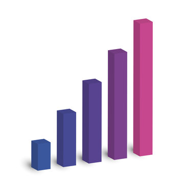 Bar chart of 5 growing columns. 3D isometric colorful vector graph. Economical growth, increase or success theme