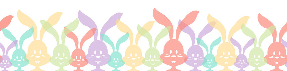 Wall Mural - Colorful easter bunnies seamless pattern frame isolated background