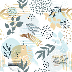 Seamless exotic pattern with tropical plants and pink gold elements. Vector