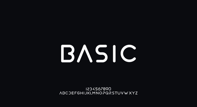 Basic, an Abstract technology futuristic alphabet font. digital space typography vector illustration design