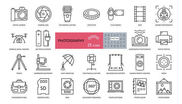 Photo set of 25 icons with editable stroke. Vector illustration of shooting and processing photos. Cameras, lenses, flashes, lighting, drone, aerial photography, album, remote control, bag, tripod.