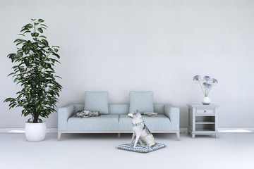 White living room interior with cat and dog on the wooden floor. Home nordic interior. 3D illustration