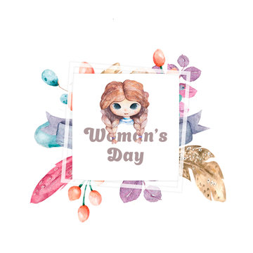Banner for sale International Happy Women's Day on flower background. Flyer for March 8 with the decor of floral. Invitations with square frame and flower for offer and discount.
