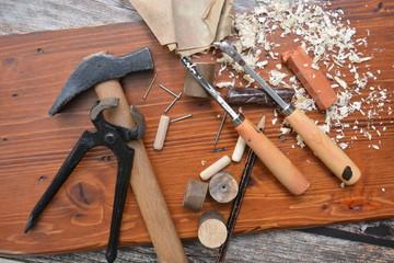 attrezzi da lavoro per falegnami e per restauro dei mobili di legno Wall mural