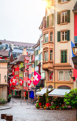 Wall Mural - Beautiful cozy street in the city center of Zurich, Switzerland