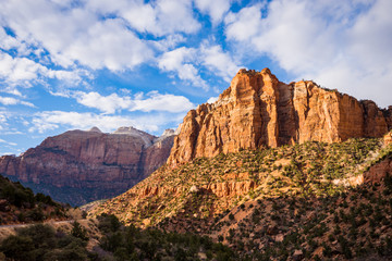 Sunny afternoon view of Zion Canyon National Park Utah USA