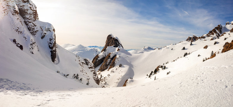 Panoramic view of Mount Ciucas peak at a sunset on winter