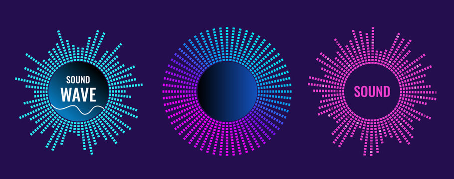 The musical symbol of the circular equalizer. Sound wave vector icon. Illustration isolated on dark background