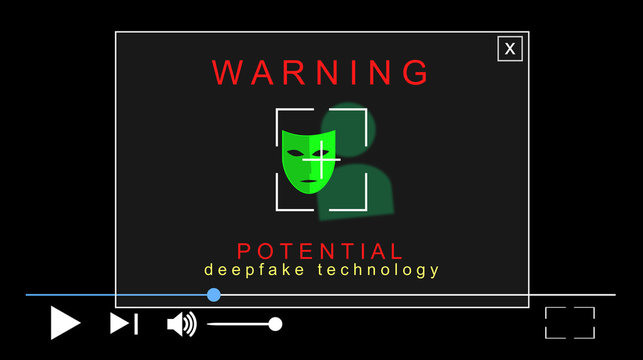 Acronym Deepfake, Deep Fake and false, profound learning. Replacing images using artificial neural networks. Illustration with warning pop-up, alert. Video interface. Media file.