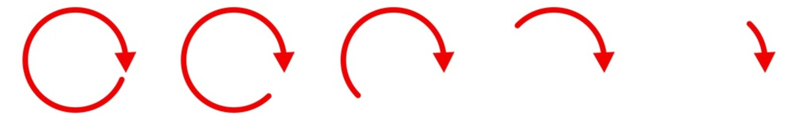Arrow Icon Red | Circle Arrows | Infographic Illustration | Direction Symbol | Curved Loading Logo | Up Sign | Isolated | Variations