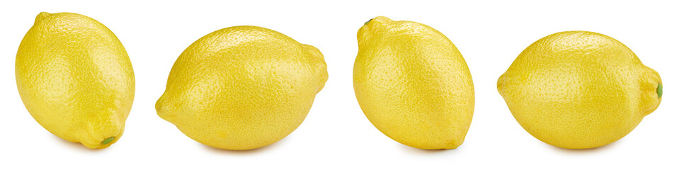 Lemon isolated on white. Lemon collection. Lemon with clipping path isolated on a white background