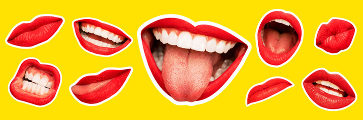 Collage in magazine style with female lips on bright yellow background. Smiling, mouthes screaming, scratching, different emotions. Modern design, creative artwork, style, human emotions concept. Fotomurales