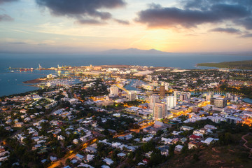 Sunset over Townsville and Magnetic Island , Queensland