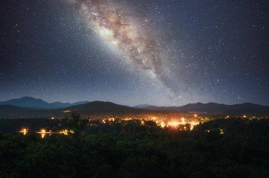 Milky way over Saranac Lake in Adirondack Mountains, New York