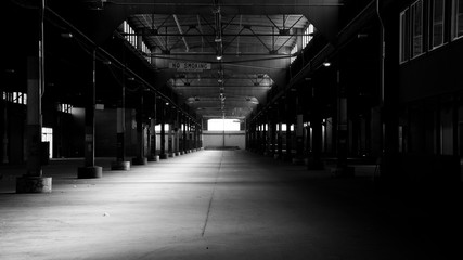Spooky Urban Abandoned Warehouse Floor in Black and White