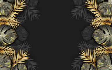 black and gold tropical leaves on dark background Luxury exotic botanical