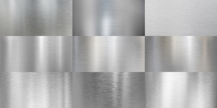 Metal textures brushed or polished aluminum set