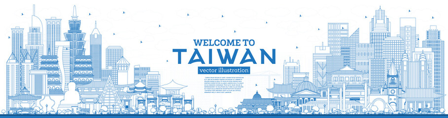 Outline Welcome to Taiwan City Skyline with Blue Buildings. Fotomurales