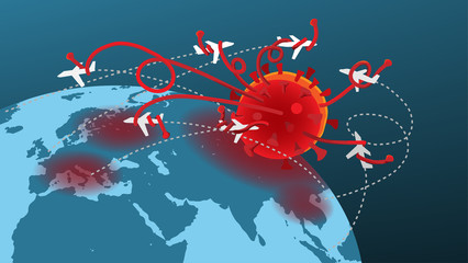 The infographic illustration picture of a giant virus monster is destroying the world airline industry. ( vector ) Wall mural