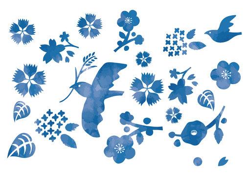 青い鳥と花イラスト水彩風