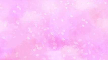 Wall Mural - 舞い落ちる桜の花びら 背景はピンクの水彩タッチ