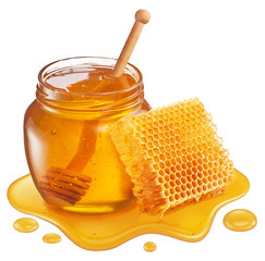 Photo sur Plexiglas Bee Glass pot of honey, honeycombs and sweet sticky honey puddle isolated on white background.