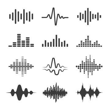 Radio waves vector icon set