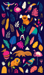Fototapete - Vector colorful illustration with tropical flowers, leaves, monkey, flamingo and birds. Brazil tropical pattern.  Rio de janeiro pattern,.