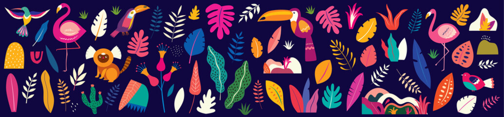 Fototapete - Animals big collection. Animals of Brazil. Vector colorful set of  illustrations with tropical flowers, leaves, monkey, flamingo, and birds. Brazil tropical pattern.  Rio de janeiro pattern,.