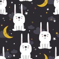 Door stickers Bestsellers Kids Bunnies, stars, moon and clouds hand drawn backdrop. Colorful seamless pattern with animals. Decorative cute wallpaper, good for printing. Overlapping background vector. Design illustration, rabbits