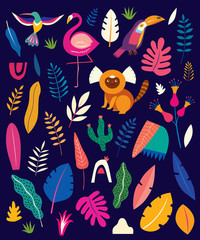 Fototapete - Vector colorful pattern with tropical flowers, leaves, monkey, flamingo and birds. Brazil tropical pattern.  Rio de janeiro pattern,.