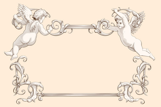 Elegant vintage border frame with cupids for weddings, Valentine`s day and other holidays. Decorative element in the style of vintage engraving with Baroque ornament