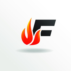Initial Letter F with Fire Element Logo Design