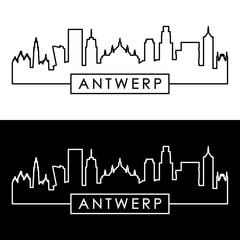Antwerp skyline. Linear style. Editable vector file.